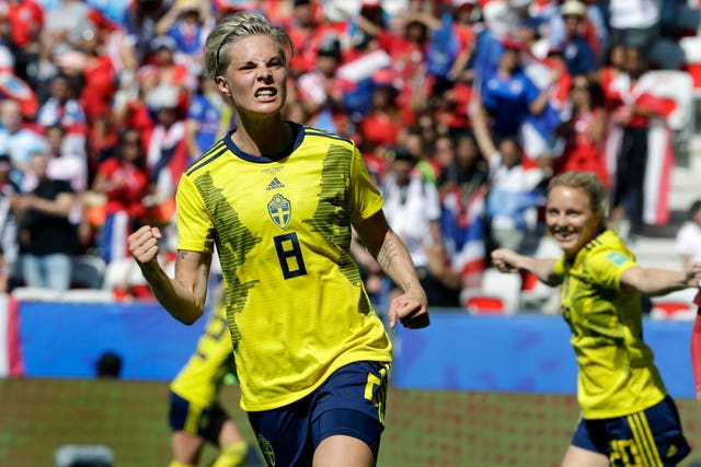 Sweden's Lina Hurtig, celebrates scoring in her side's 5-1 win over Thailand at the Women's World Cup