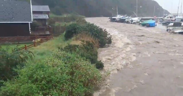 Flooding at Laxey Harbour, Isle of Man