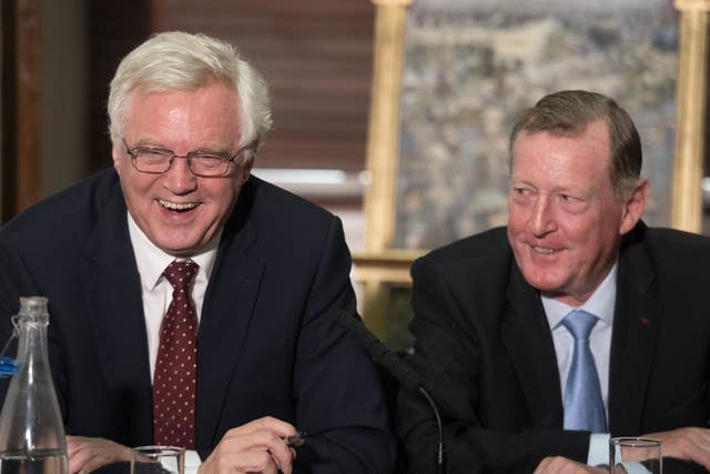 David Davis and Lord Trimble during a Royal United Services Institute