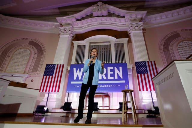 Democratic presidential candidate Elizabeth Warren speaks at a town hall campaign event in Portsmouth, New Hampshire