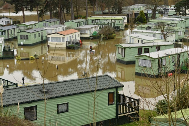 Caravans surrounded by floodwater