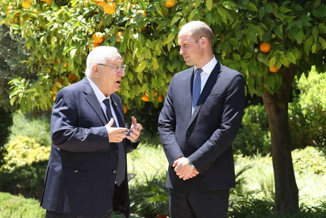 The Duke of Cambridge with Israeli President Reuven Rivlin in 2018