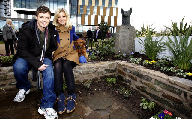 Blue Peter presenters Helen Skelton and Barney Harwood at the Blue Peter Garden in Salford. (Image: PA)