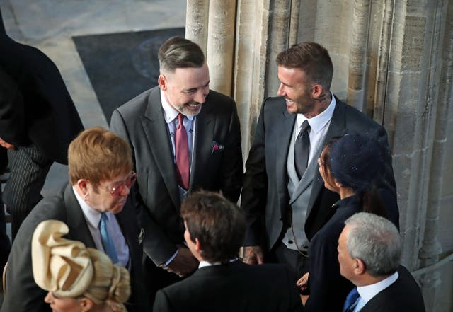 David and Victoria Beckham (both right) talk to Sir Elton John (left) and David Furnish (Danny Lawson/PA)