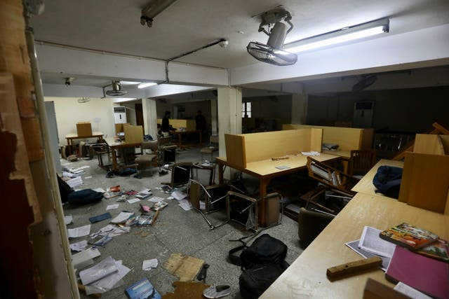 The library of the Jamia Millia Islamia University that was stormed by police