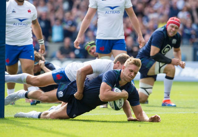 Chris Harris scores a try as Scotland beat France in their World Cup warm-up