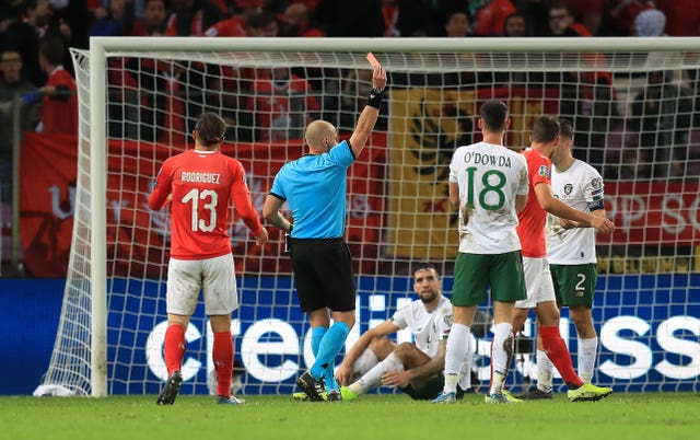 Republic of Ireland full-back Seamus Coleman (right) is sent off during the 2-0 Euro 2020 qualifier defeat in Switzerland