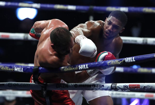 Anthony Joshua punches Kubrat Pulev during last month's fight