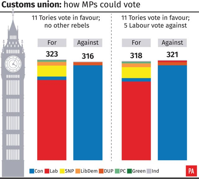 Customs union: how MPs could vote. (PA Graphics)