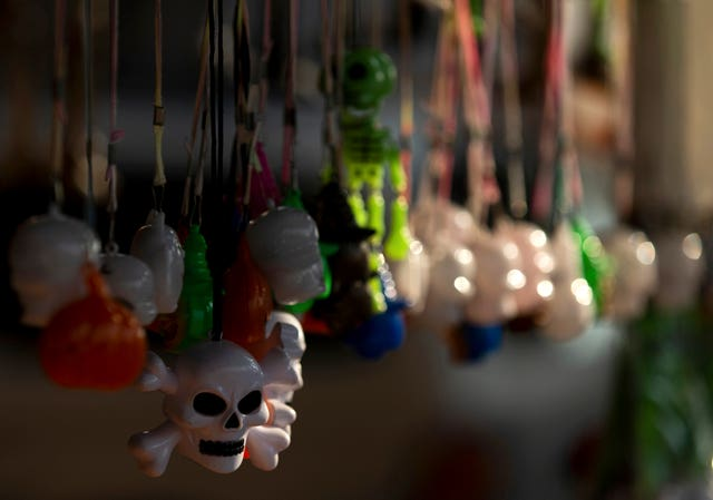 Day of the Dead skulls are displayed for sale at the Jamaica Market, in Mexico City (Fernando Llano/AP)