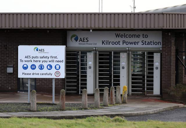 The fossil fuel-fired power plant at Kilroot in Co Antrim is set to close (Brian Lawless/PA)