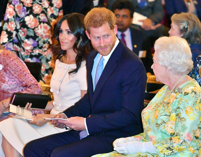 The Queen with Harry and Meghan