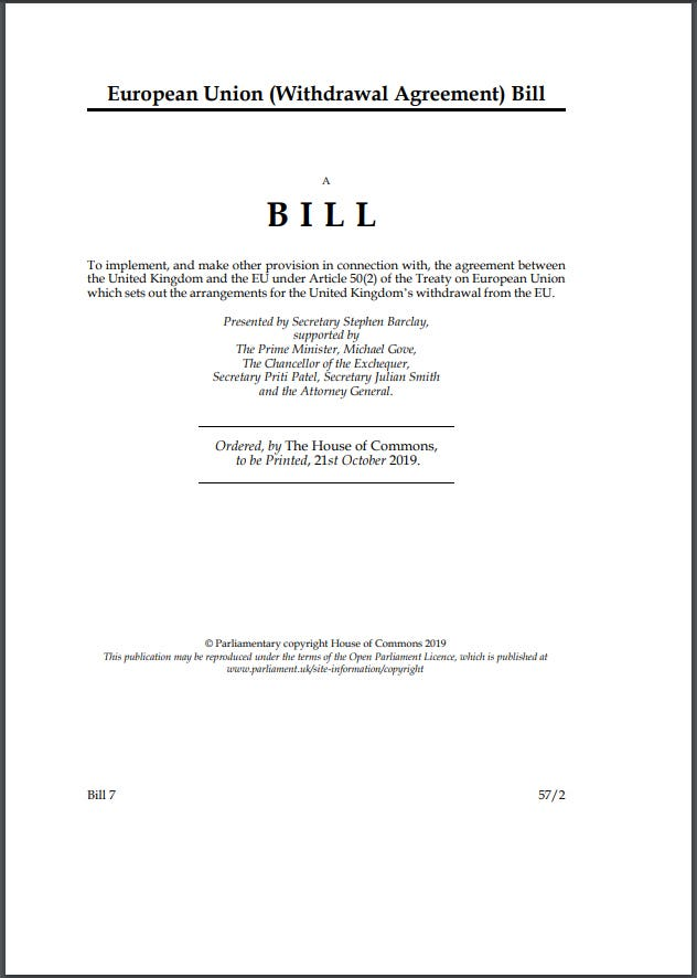 The Government's draft of the Withdrawal Agreement Bil