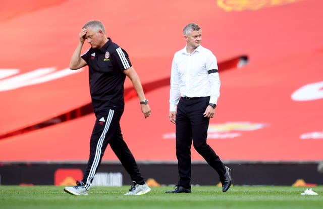 Sheffield United manager Chris Wilder, left, was not a happy man at full-time