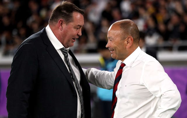 Eddie Jones (right) got the better of New Zealand coach Steve Hansen