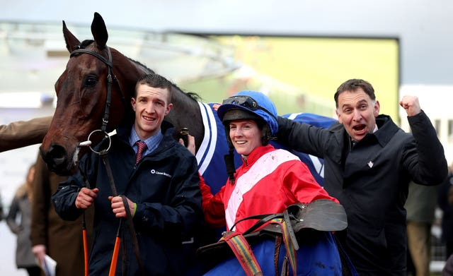 Henry de Bromhead celebrates victory at Cheltenham with A Plus Tard