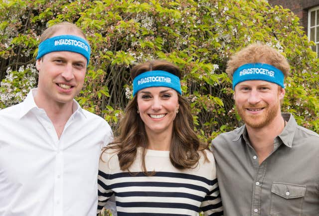 William, Kate and Harry supporting their Heads Together mental health campaign (Royal Foundation/PA)