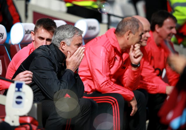Jose Mourinho saw his side lose 3-1 at West Ham at the weekend (Ian Walton/PA).
