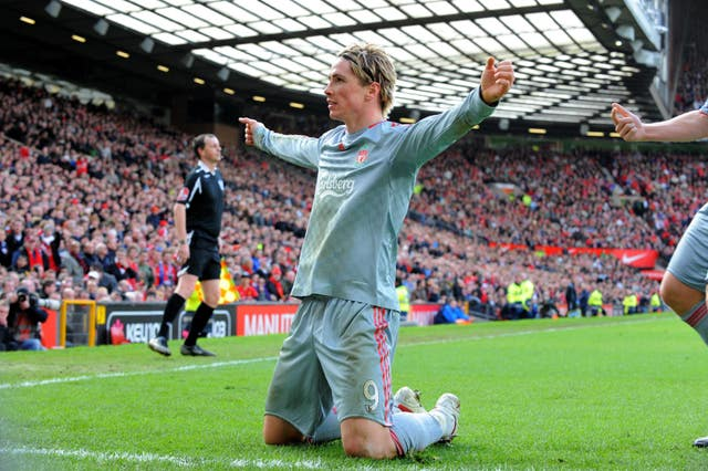 Fernando Torres opened the scoring as Liverpool won 4-1 at Manchester United in March 2009.
