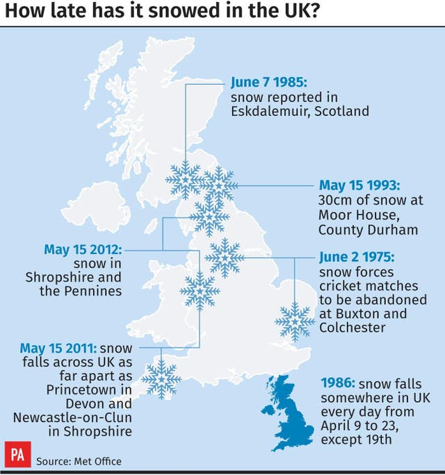 How late has it snowed in the UK?