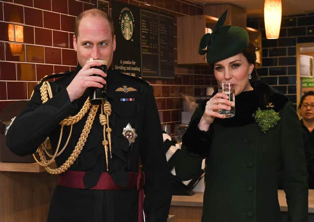 The Duke and Duchess of Cambridge on St Patrick's Day at Cavalry Barracks in Hounslow (Andrew Parsons/Sunday Times/PA)