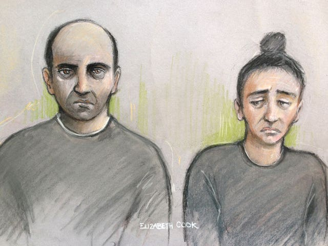 File court artist sketch by Elizabeth Cook of Ouissem Medouni (left) and Sabrina Kouider (PA)
