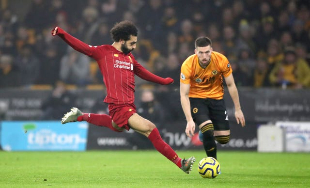 Liverpool's Mohamed Salah during the Premier League match at Molineux