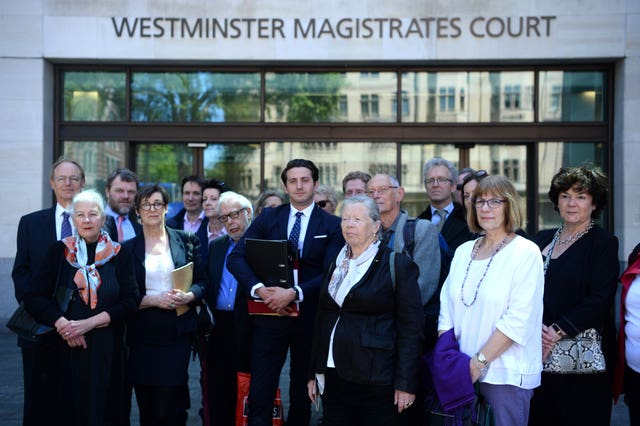 Marcus Ball with supporters outside Westminster Magistrates' Court
