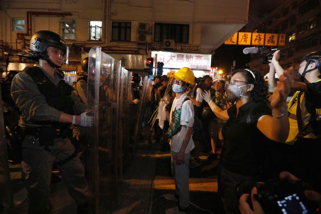 Protesters clashed with riot police in Hong Kong