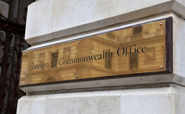A stock picture of a general view of the sign on the Foreign Office (Clive Gee/PA)