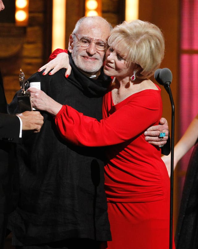 Larry Kramer and Daryl Roth after winning the Tony Award for Best Revival of a Play for The Normal Heart
