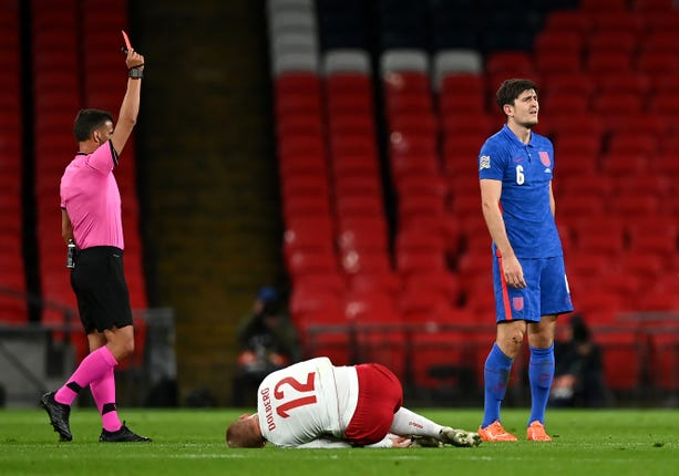 Harry Maguire was sent off in England's loss to Denmark