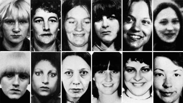 Twelve of the 13 victims of Peter Sutcliffe, the Yorkshire Ripper, who has died in hospital. Top row (left to right) Wilma McCann, Emily Jackson, Irene Richardson, Patricia Atkinson, Jayne McDonald and Jean Jordan. Bottom row: Yvonne Pearson, Helen Rytka, Vera Millward, Josephine Whitaker, Barbara Leach and Jacqueline Hill (PA)