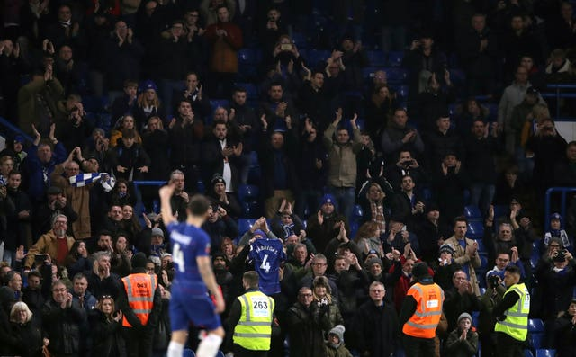 Cesc Fabregas salutes the Stamford Bridge crowd after being substituted in Saturday's FA Cup tie