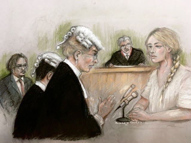 Court artist sketch by Elizabeth Cook of actress Amber Heard being questioned by Sasha Wass QC (Elizabeth Cook/PA)
