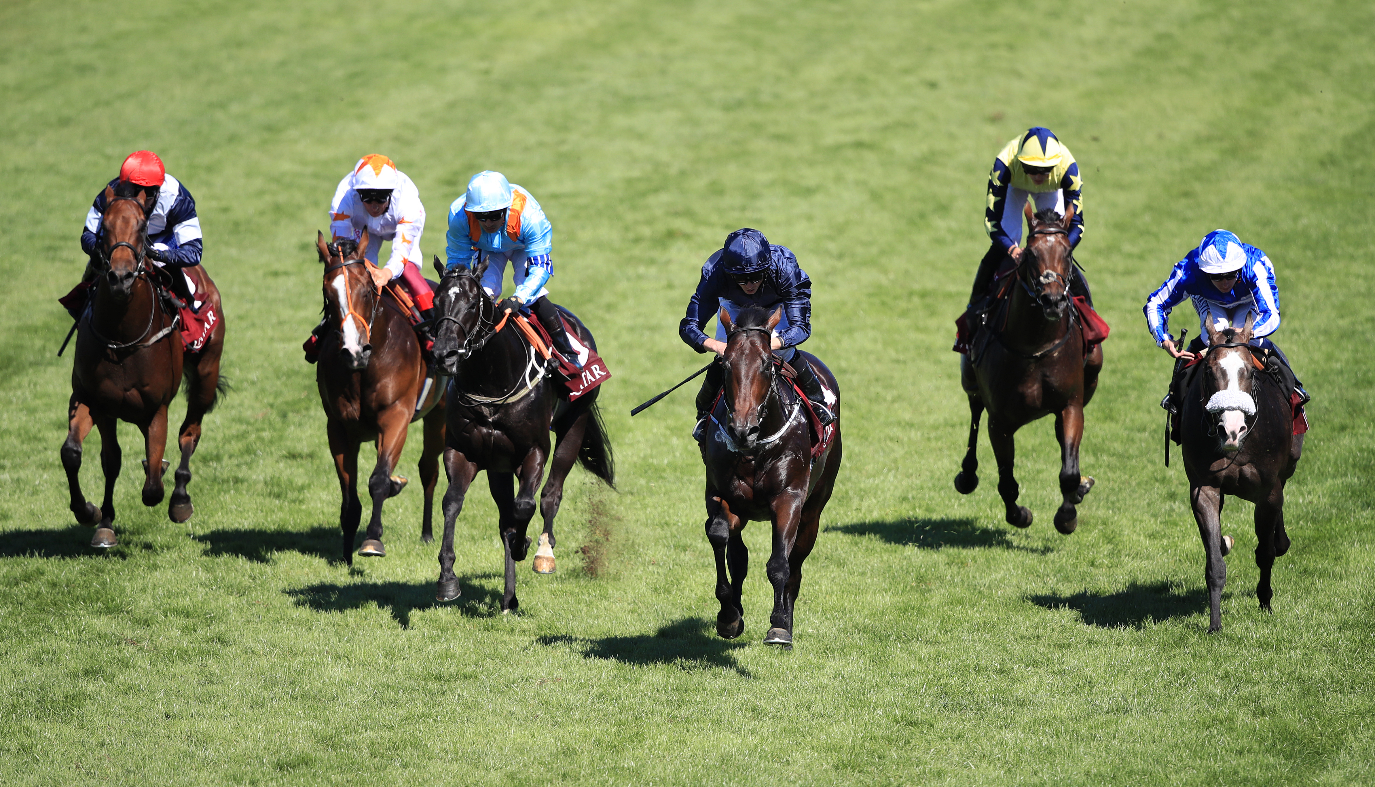 Land Force (centre) and Marie's Diamond (third from left) finish first and second at Goodwood