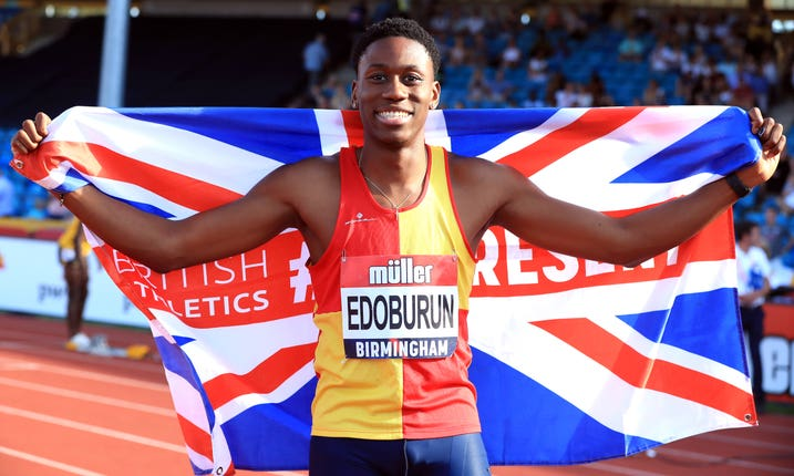 Ojie Edoburun celebrates his surprise 100m at the British Championships in Birmingham
