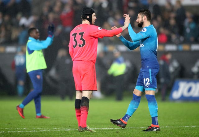 Arsenal goalkeeper Petr Cech (left) will be looking to keep out former team-mate Olivier Giroud in Baku.