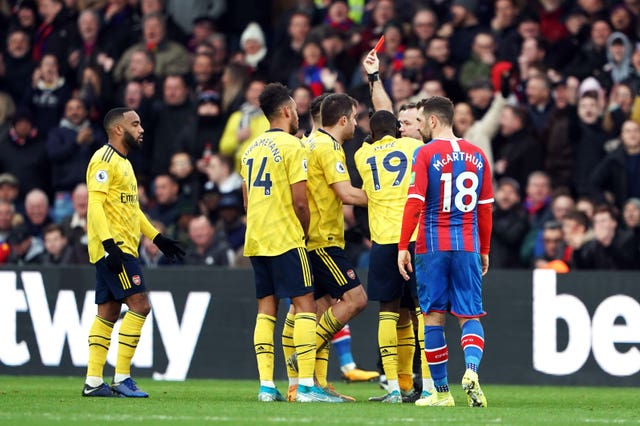 Pierre-Emerick Aubameyang (second left) was sent off at Selhurst Park