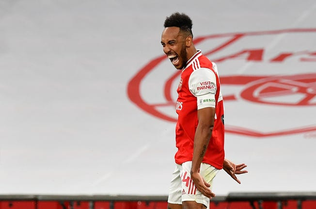 Pierre-Emerick Aubameyang scored both goals for the Gunners