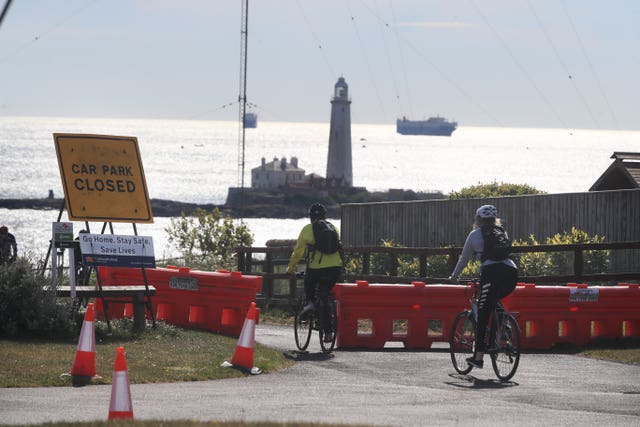 In the North East, St Mary's Island in Whitley Bay was closed off