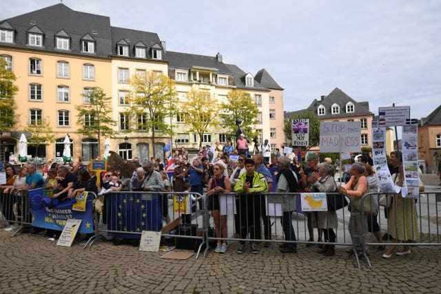 Protesters outside the Luxembourg Ministry of State