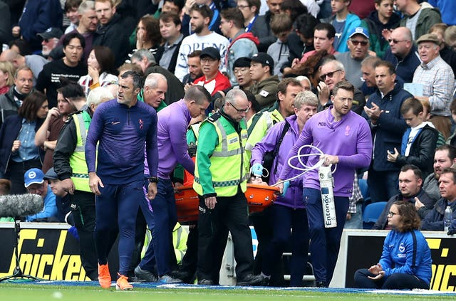 Hugo Lloris is stretchered off at Brighton