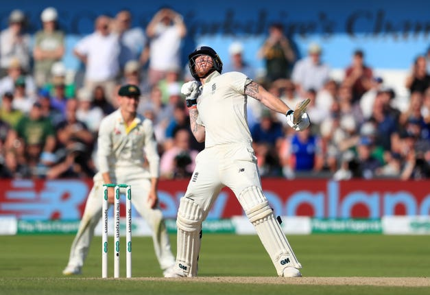 Ben Stokes celebrates hitting the winning runs against Australia at Headingley