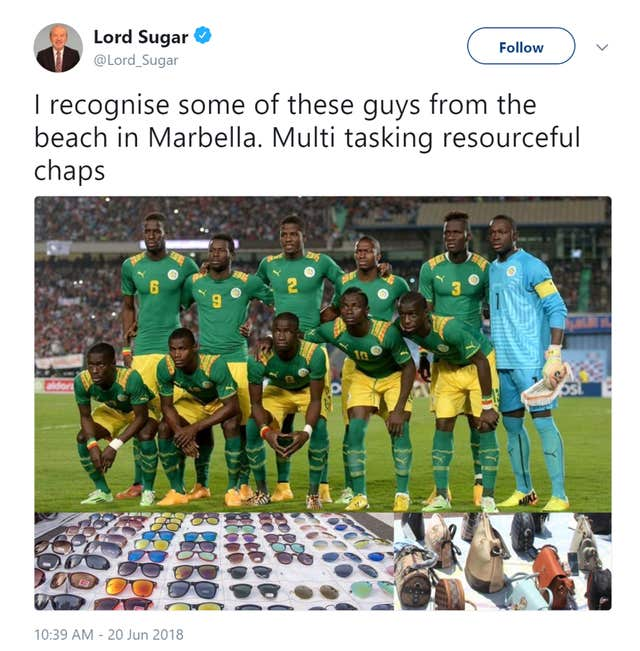 Lord Sugar's tweet