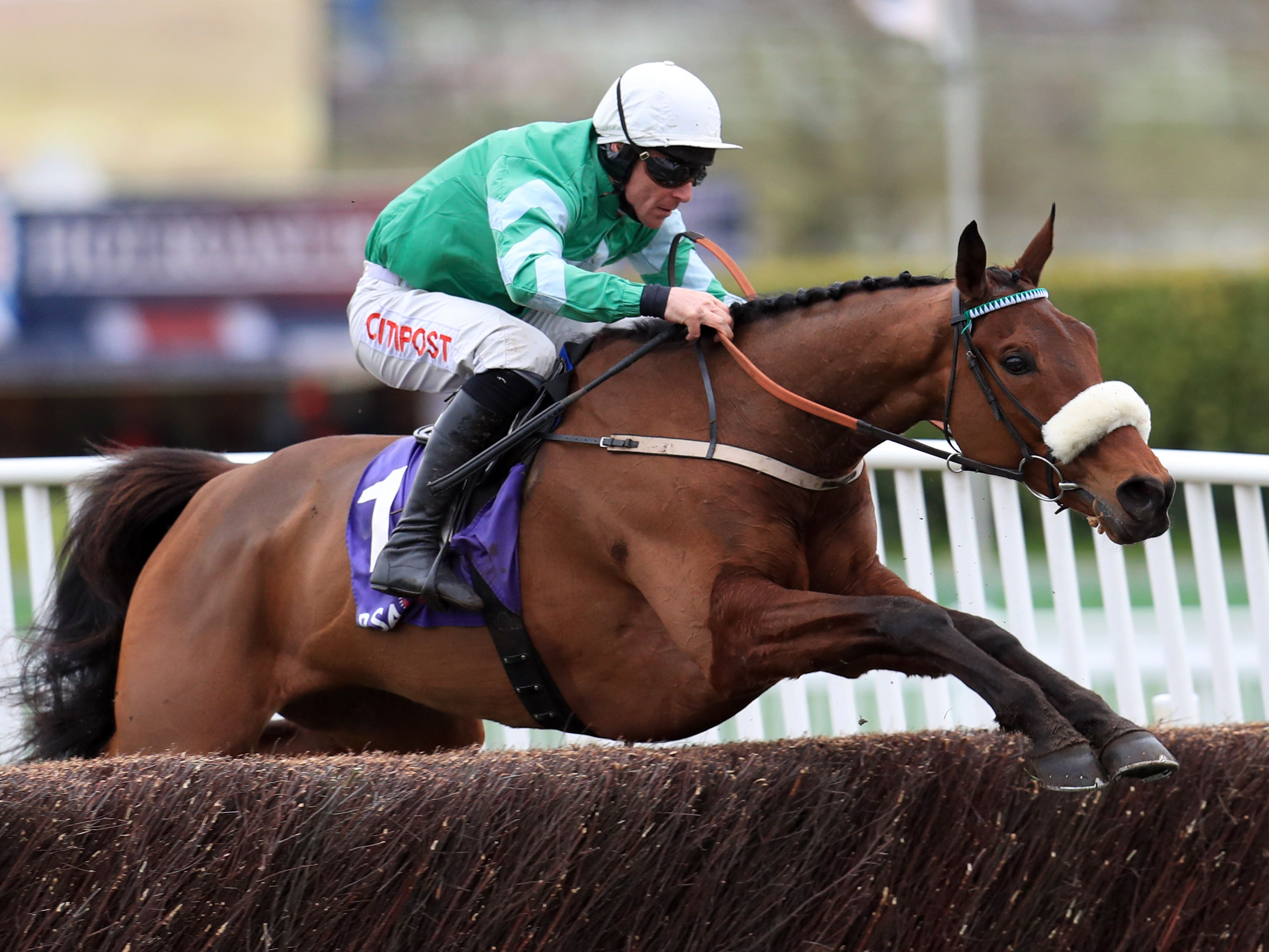Presenting Percy on his way to winning the RSA Chase at Cheltenham (Mike Egerton/PA)