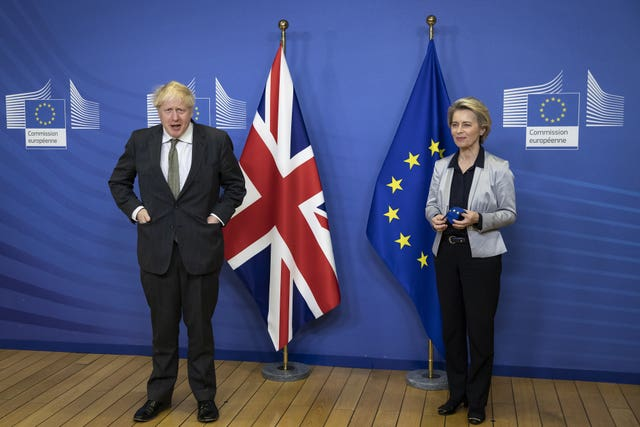 Prime Minister Boris Johnson in Brussels with European Commission president Ursula von der Leyen