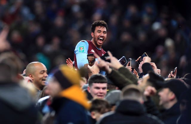 Trezeguet is chaired off the pitch by Villa fans after his late winner