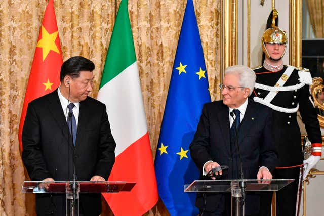 Xi Jinping and Sergio Mattarella at the Quirinale Presidential Palace