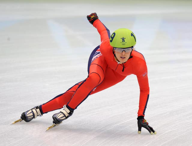 Sarah Lindsay competing for Team GB at the 2010 Winter Games